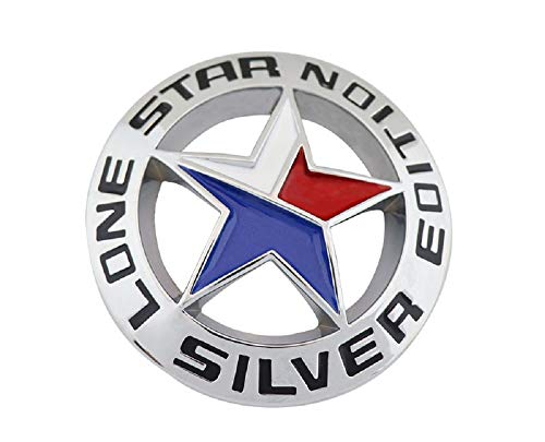 Muzzys LONE STAR SILVER EDITION Texas Emblem Decal Longhorn METAL Badge Universal Stick On for Chevy Silverado Suburban Tahoe GMC Sierra Ford F150 Ranger F-150 Dodge Ram Nissan Titan Car Auto Truck Fe