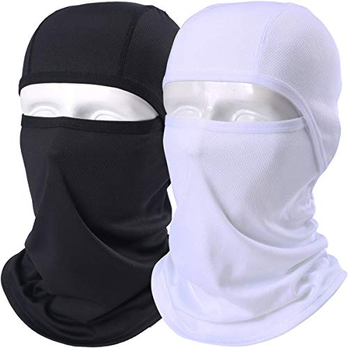 (AXBXCX 2 Pack Balaclava - Breathable Face Mask Windproof Dust Sun UV Protection for Motorcycle Cycling Motocross Riding Hunting Hiking Fishing Ski Snowboard Tactical Paintball Airsoft Black and White)