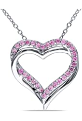 Sterling Silver Created Pink Sapphire Heart Pendant 18''