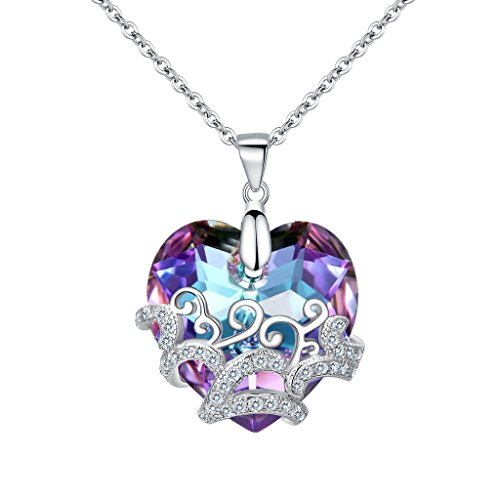 Ocean Dance Costumes (BriLove Women 925 Sterling Silver CZ Glass Filigree Heart Shape of Ocean Pendant Necklace Adorned with Swarovski Crystals Vitrail Light)