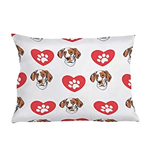 Style In Print Personalized Pillow Case Ariege Pointer Dog Heart Paws Polyester Pillow Cover 20INx28IN Design Only Set of 2 8