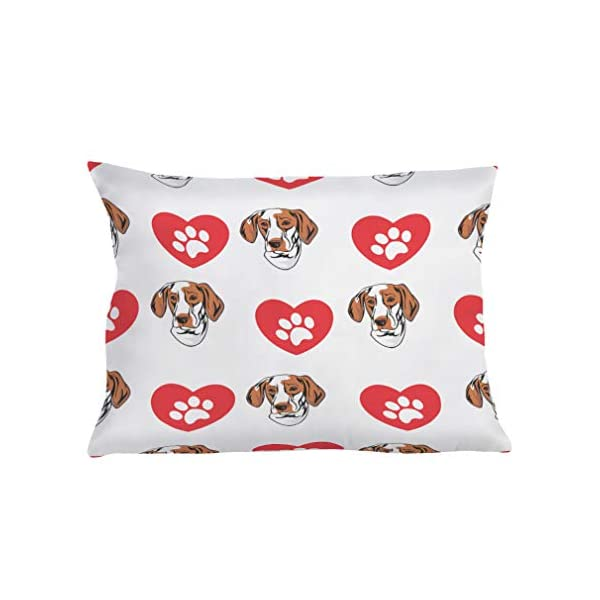 Style In Print Personalized Pillow Case Ariege Pointer Dog Heart Paws Polyester Pillow Cover 20INx28IN Design Only Set of 2 1