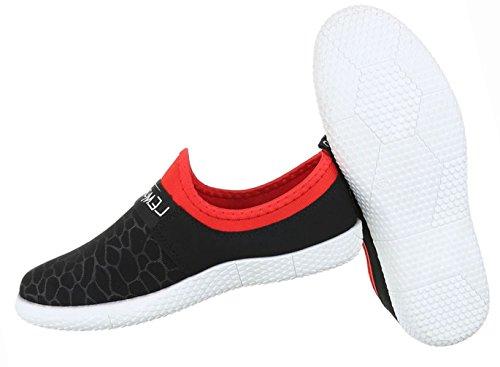 Damen Schuhe Halbschuhe Sportliche Slipper Freizeitschuhe Schwarz Schwarz
