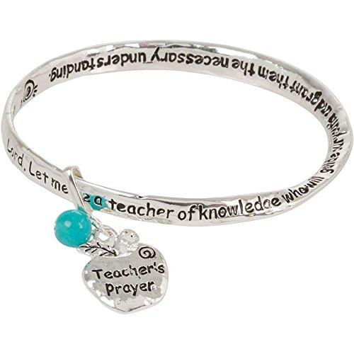Teacher Prayer Silver Tone Bangle Bracelet with Dangling Apple (Dangling Silver Bracelet)