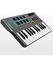 $126 » Donner Professional Mini DMK25 | 25 Key USB MIDI Keyboard Controller With 8 Backlit Drum Pads, 4 Knobs 4 control faders MIDI Controller