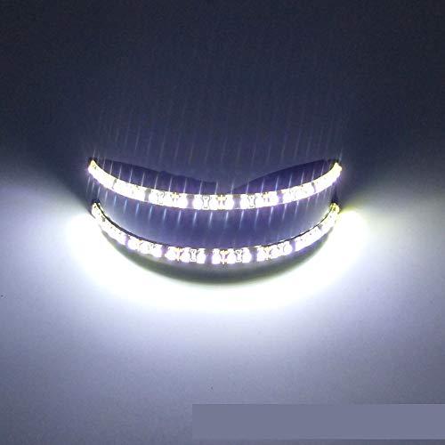 PLOPLO LED Futuristic Cyclops Monoblock Shield Mirrored Sunglasses (Cold White) -