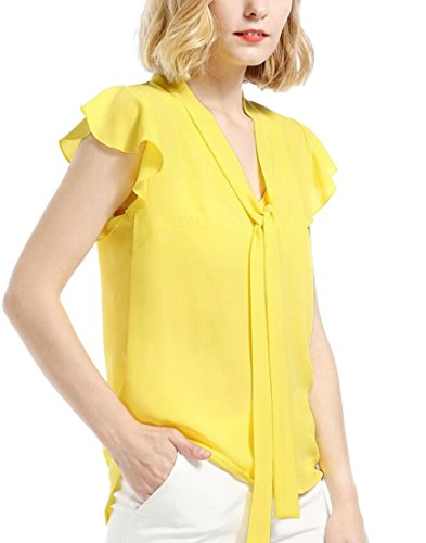 Area Womens Cap Sleeve T-shirts - Generic Womens Chiffon Solid V Neck Bow Ruffle Cap Sleeve Pleated T Shirt Yellow XS
