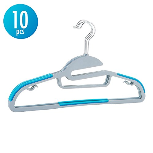 Christmas Gift 10pcs Hanger Sturdy Slim Lightweight Clothes Hangers Holder with Swivel Stainless Steel Hook Nonslip S-shape Shoulder Anti-Wrinkle and Space Saving Design for Shirts Scarfs Suits - Blue - Compact Laundry Stacking Kit
