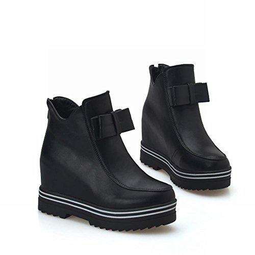 Latasa Dames Boog Platform Enkel Sleehakken Laarzen Met Zwarte Rits