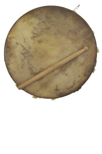 (African Sakara Frame Drum with stick - Clay and goat skin - medium 8-9