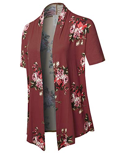 Solid Jersey Knit Draped Open Front Short Sleeves Cardigan Burgundy Floral S