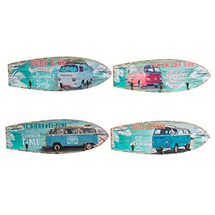 Dcasa - Set 4 cuadro de pared madera perchero vintage SURF ...