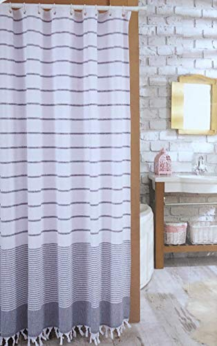 Turkish Hammam Fabric Shower Curtain Horizontal Stripes Varying Widths Blue White Chambray Weave on White with Fringed Tassels Along Bottom 100% Cotton -