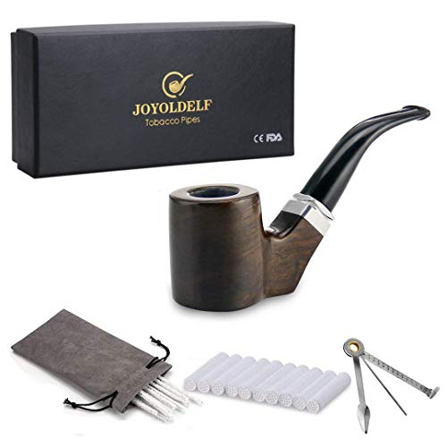 Joyoldelf Cylinder Shape Smoking Pipe - Wooden Pipe with 9mm Pipe Filter, 3-in-1 Pipe Scraper, Pipe Cleaners & Gray Pipe Pouch (Best Smoking Pipes In The World)