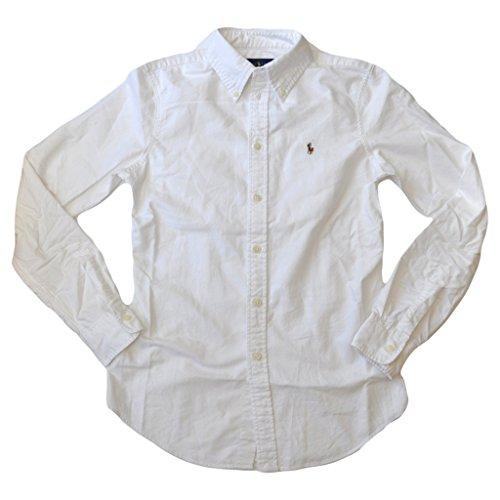 Polo Ralph Lauren Womens Custom Fit Oxford Button Down Shirt, White, L (Ralph Lauren Polo Oxford)