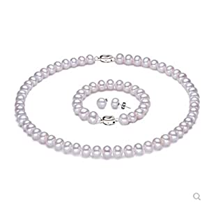 JYX 10-12mm White Freshwater Cultured Pearl Necklace Bracelet Earrings Jewelry Set