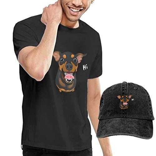 Happy Min Pin Miniature Pinscher Design Classic Men's Summer Casual Short Sleeve T Shirts Crewneck Tees Top Denim ()