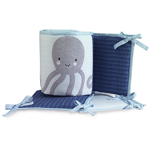 Lambs & Ivy Oceania 4-Piece Crib Bumper - Ocean Underwater Theme - Blue (Crib Bumper Striped)