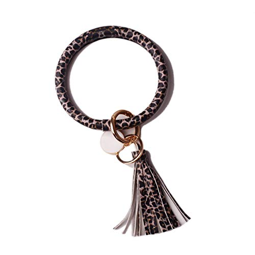 L&N Rainbery PU Leather O Key Chain Circle Tassel Wristlet Keychain for Women Girls (Leopard Black Tassel #2) (Little Rings For Girls)