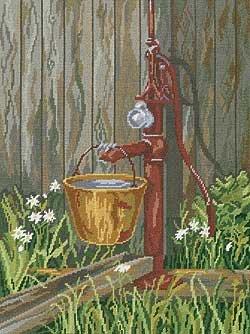 Watering Pump Floss Needlepoint Kit