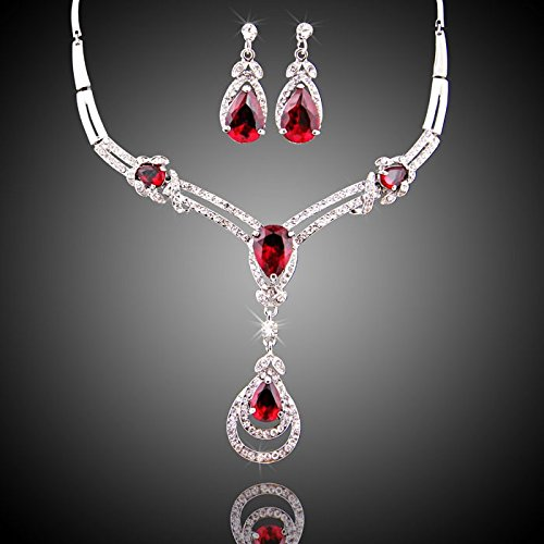 wang HOT RED Cubic Zirconia Yellow/White Gold Plated Crystal Water Drop Necklace Earring Jewelry Set (White)