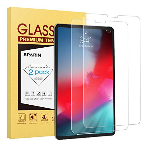 [2 Pack] Screen Protector for New 2018 iPad Pro 12.9 inch [3rd Generation], SPARIN Large Notch Cutout Tempered Glass with Apple Pencil Compatible, No Interfere with Face ID