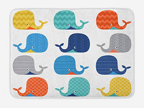 Lunarable Nursery Bath Mat, Fish Sea Nautical Funny Colorful Whales in Stripes Dots Geometric Zig Zag Chevron, Plush Bathroom Decor Mat with Non Slip Backing, 29.5