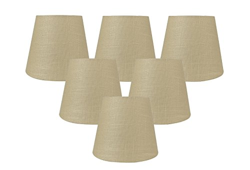 Torpedo Mini Pendant Lamp - Meriville Set of 6 Maize Linen Clip On Chandelier Lamp Shades, 4-inch by 6-inch by 5-inch