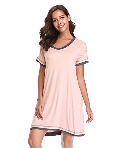 - Lusofie Women's Soft Sleepdress Petite Nightgown Contrasting Nighty (Pink, L)