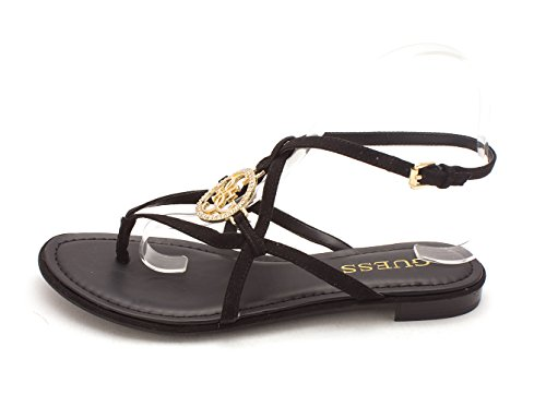 Guess Womens Romie3 Split Toe Casual Ankle Strap Sandals, Black Fabric, Size 7.0 (Ankle Sandals Guess Strap)