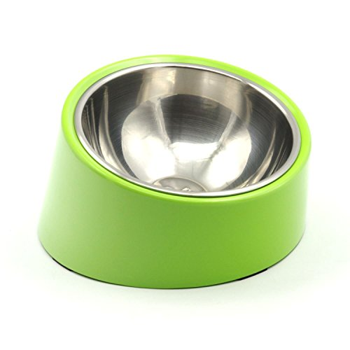 FOREVER-YOU Detachable Stainless Steel Food Bowl with 15 Degree Slanted Anti-Skid Melamine Stand, for Dogs and Cats,green ()