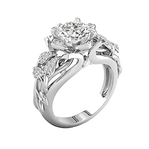 Fxbar Romantic Engagement Ring,Women Fashion Flower Leaves Chic Rings Eternity Shine Cubic Zirconia Promise Rings for - Flower Ring Stackable Romantic