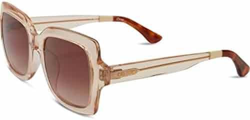 54c52304e688 TOMS 10009611 Women s Champagne Clear Frame Brown Gradient Lens Square  Sunglasses