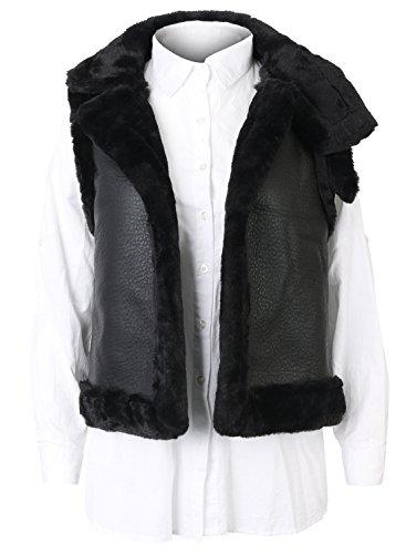 嫌悪る調べる(イリリリー) ililily レディース ソリッドカラー オープンフロント フェイクミンクファー スリーブレス ベストジャケット コート