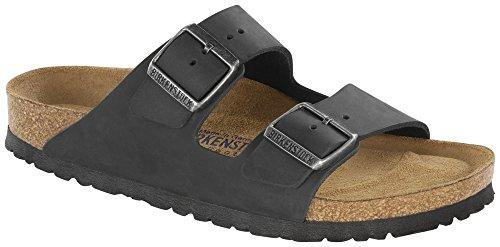 Birkenstock Arizona Oiled Black Womens Leather Regular Fit Sandals (Arizona Oiled Leather)
