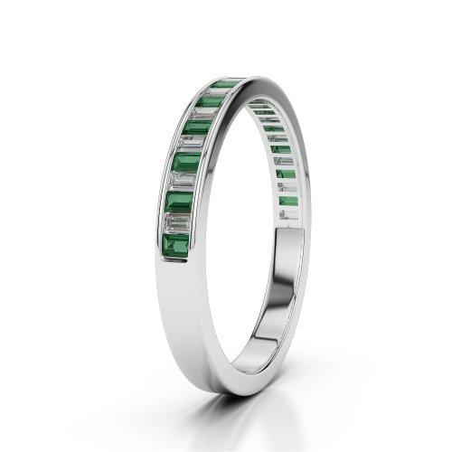 Or blanc 18carats 0.78CT G-H/VS Certifié Coupe ronde Émeraude et diamants Agdr-1139