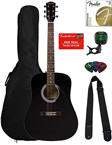 Fender FA-100 Dreadnought Acoustic Guitar - Black Bundle with Gig Bag, Tuner, Strings, Strap, and Picks