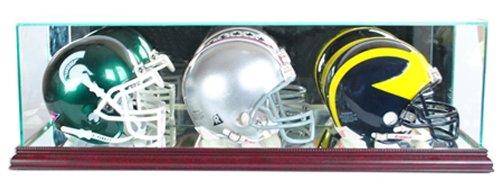Mask Display Case - Perfect Cases NFL Triple Mini Football Helmet Glass Display Case, Cherry