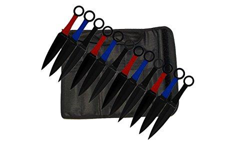 12 PC KUNAI STYLE THROWING KNIVES KNIFE SET - RED,BLACK,BLUE