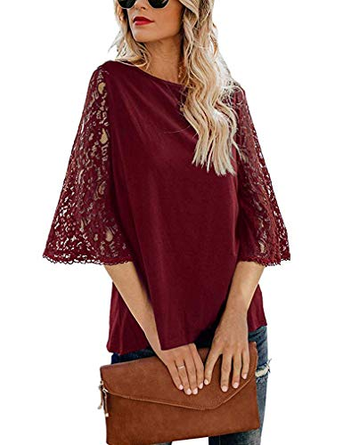 Tobrief Sexy Lace Tops for Ladies 3/4 Flare Sleeve Chiffon Blouse Shirt Wine Red, L
