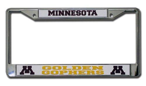 Frame Chrome Ncaa - Rico Industries NCAA Minnesota Golden Gophers Standard Chrome License Plate Frame