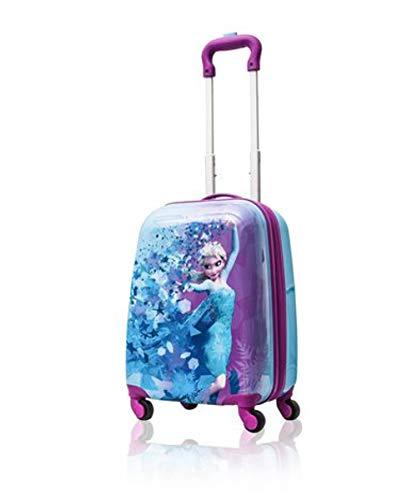 Disney Frozen Hard Side Spinner Trolley 18 Inch Luggage for Kids [Blue] (Disney Frozen Rolling Luggage)