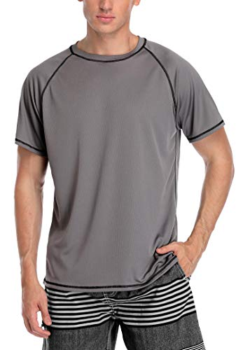 ATTRACO Men's Short Sleeve Rash Guard Top Baned Crew Neck Swim Tee Gray Large ()