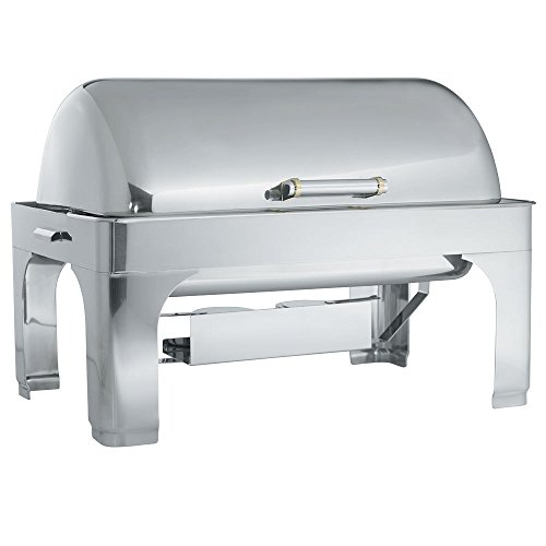 - Vollrath 48755 9 Qt. Silverplated New York, New York Retractable Dripless Chafer Full Size with Brass Trim