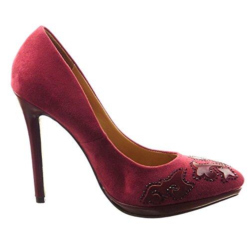 Sopily - Scarpe da Moda scarpe decollete stiletto zeppe alla caviglia donna gioielli strass Tacco Stiletto tacco alto 12 CM - Rosso