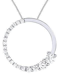 Round Cut White Natural Diamond Circle Journey Pendant Necklace In 14k White Gold