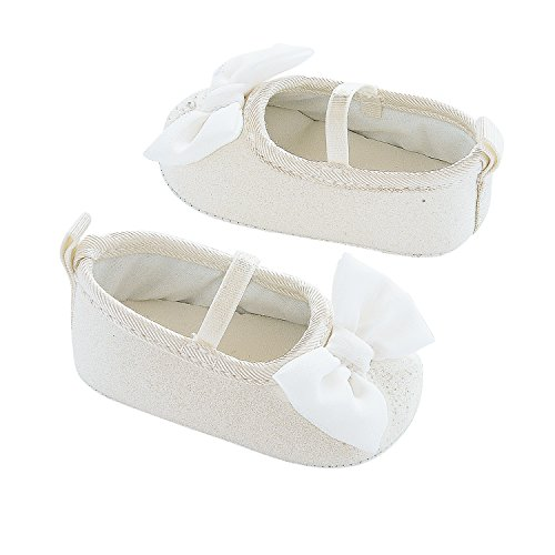 Carter's Girls' Baby Mary Jane Bow Crib Shoe, White/Glitter Shimmer, Newborn Regular US Infant