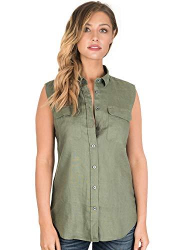 CAMIXA Women's 100% Linen Sleeveless Button-Down Two Pockets Shirt Cool Casual XL Army Green