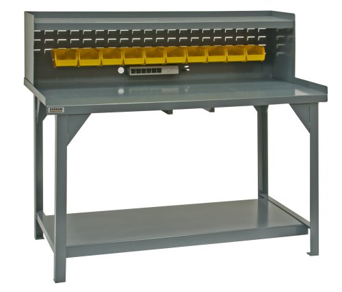 Durham Heavy Duty Steel/Iron Workbench with Back/End Stops and Riser, DWB-3072-BE-RSR-95, 4000 lbs Capacity, 30