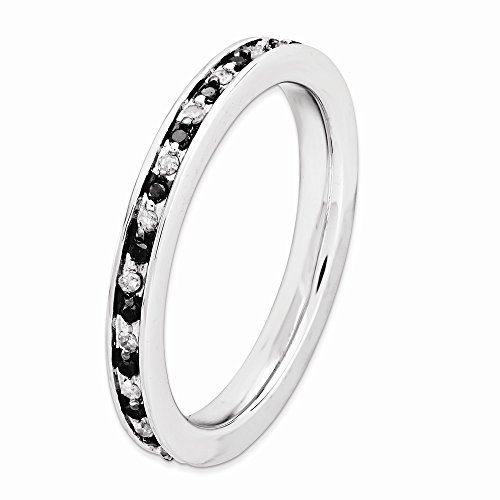 Sterling Silver Stackable Expressions Black & White Diamond Ring Size 5 by Jewels By Lux (Image #2)